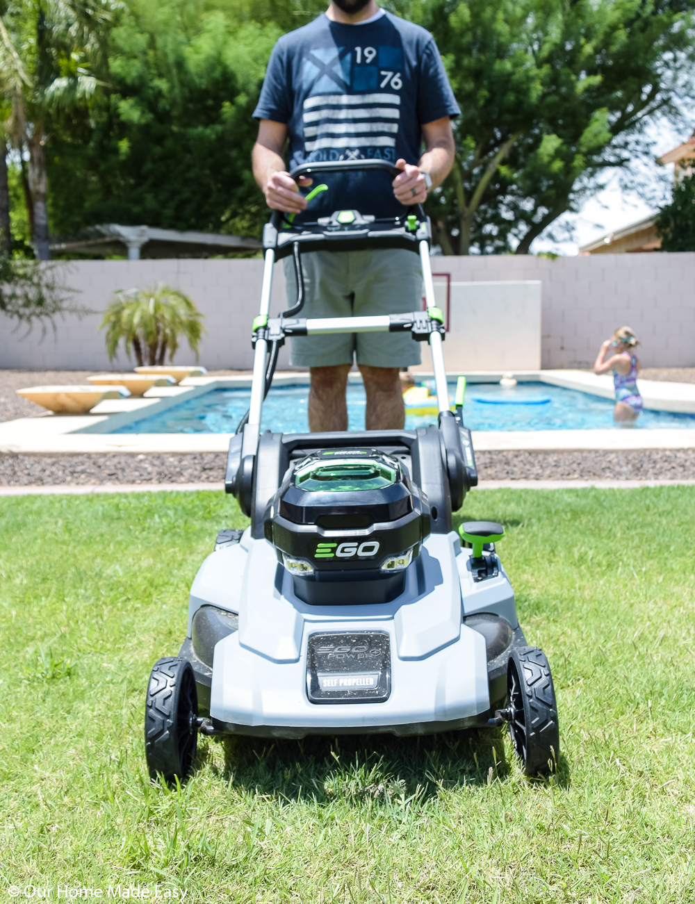 The EGO lawnmower helps us save time mowing our large backyard lawn