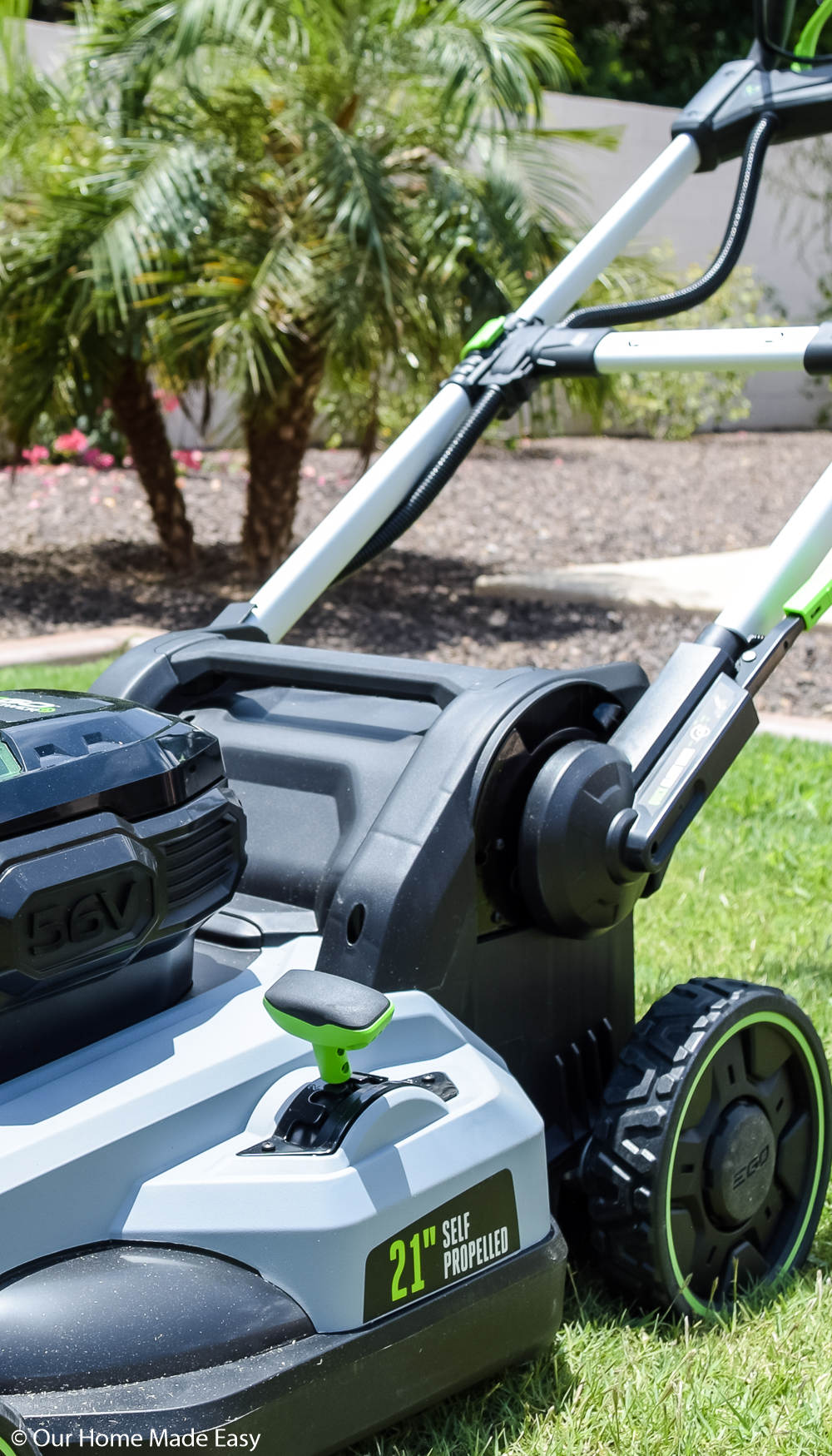 Our EGO lawnmower is a battery powered lawnmower that keeps our lawn looking fresh and maintained
