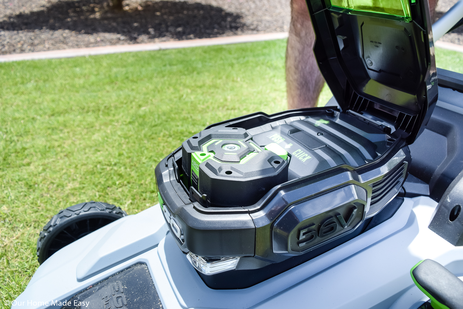 The battery powered EGO lawnmower makes mowing the lawn a simple chore