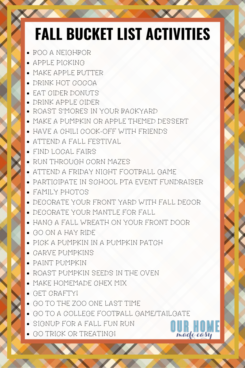 list of family fall bucket list activities