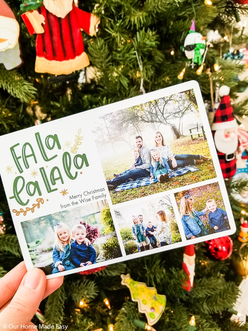 Family Christmas card in front of Christmas tree