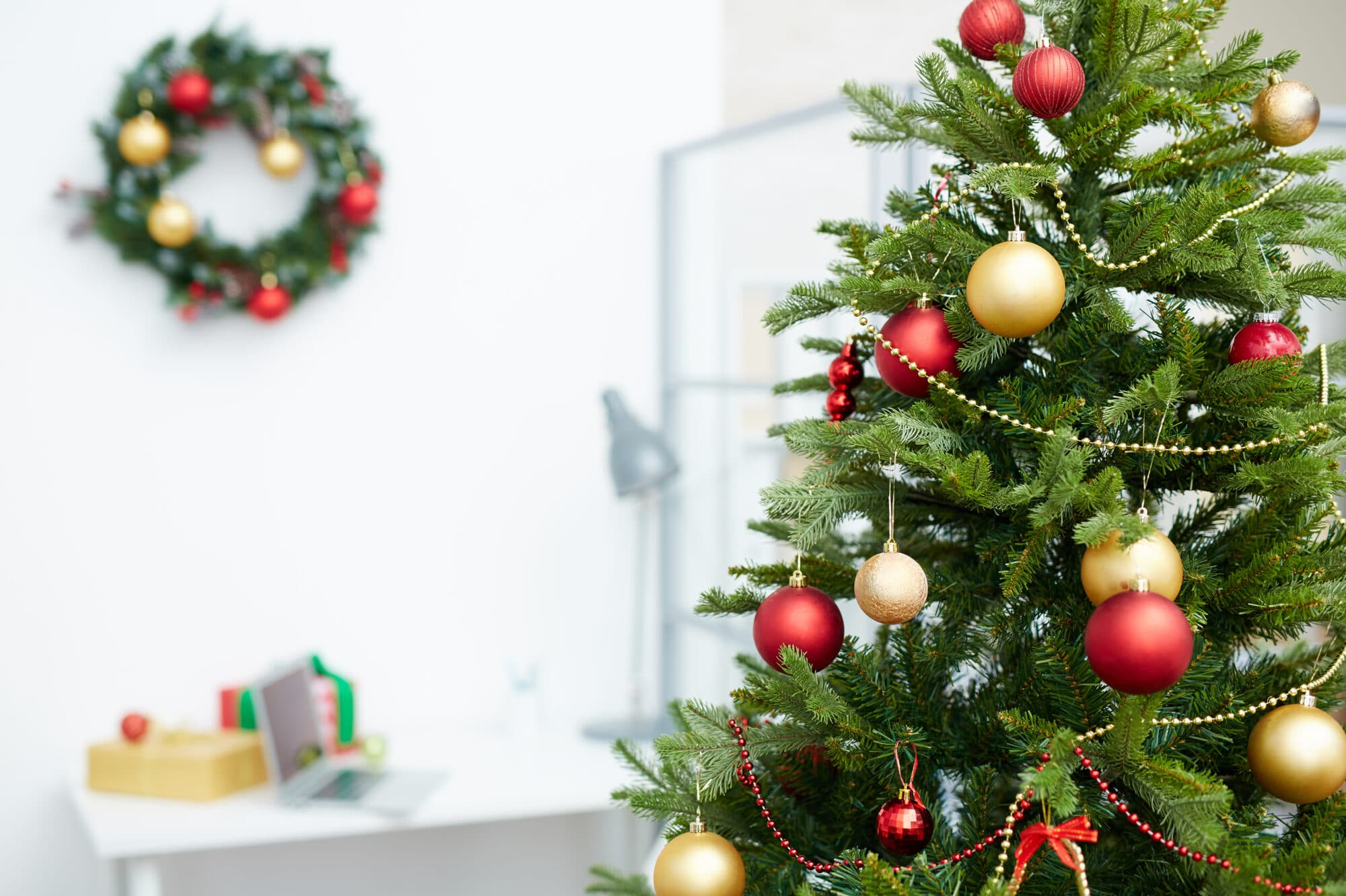 Christmas lights and wreaths are great office Christmas decorations that you can usually find for cheap online or in stores