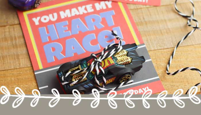 Printable Race Car Valentines for Boys