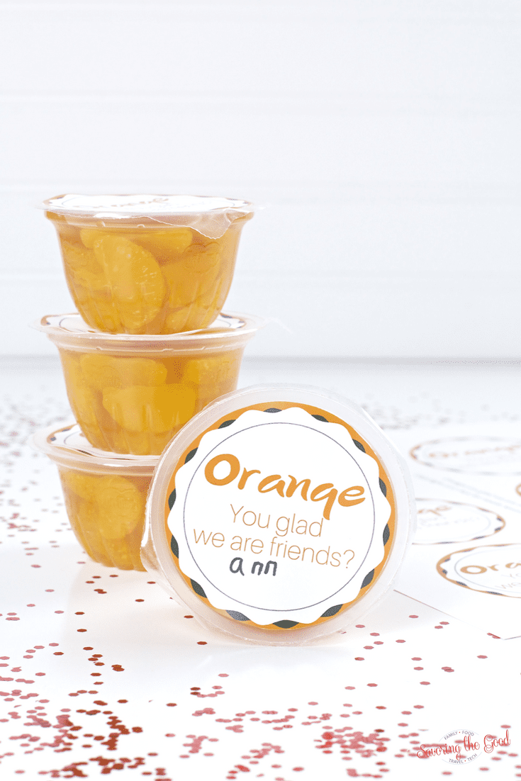 Free Mandarin Orange Cup Valentine Printable