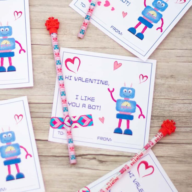 Printable Robot Valentine's Day Cards for Kids