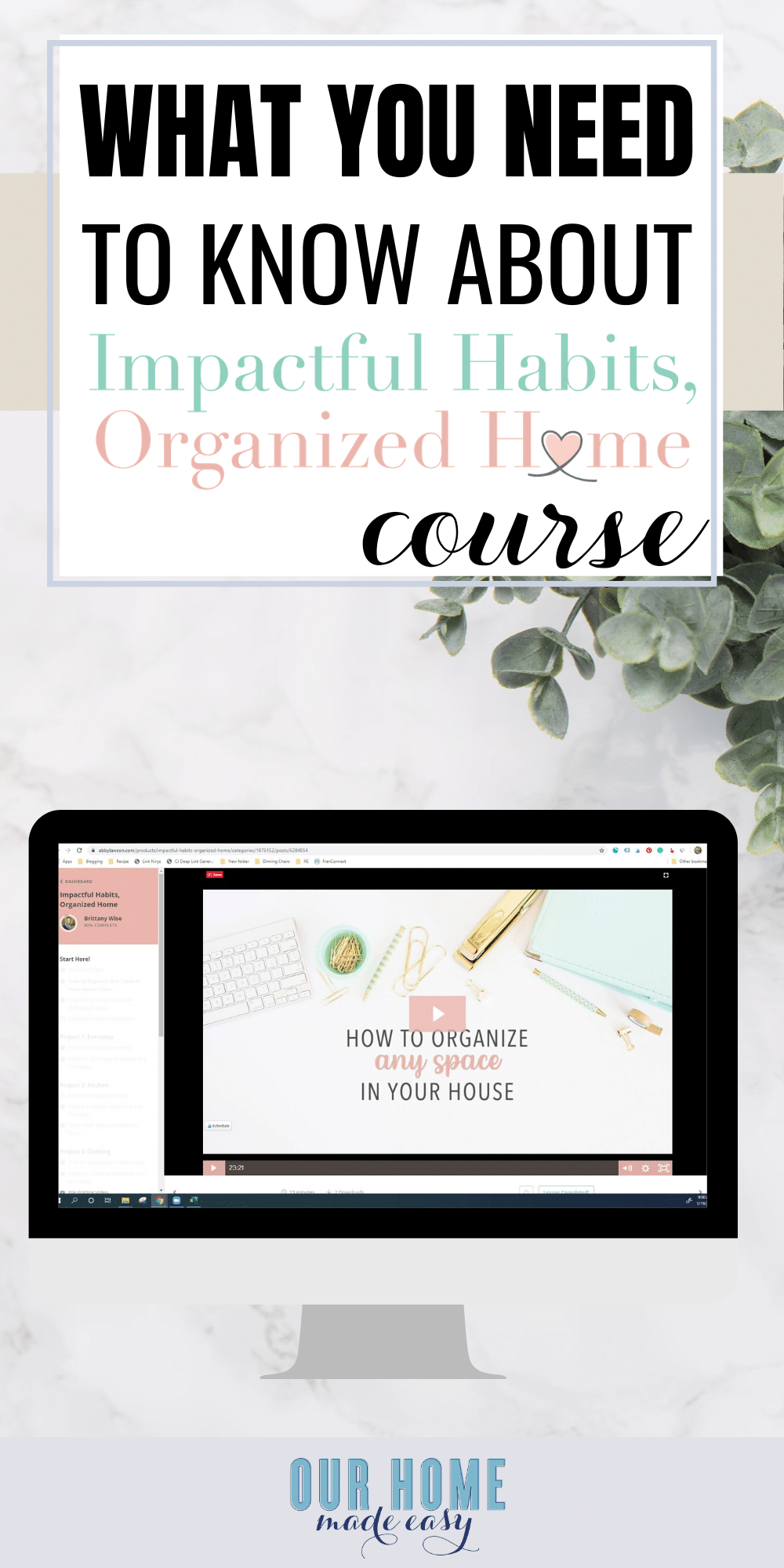 impactful habits organized home course pin