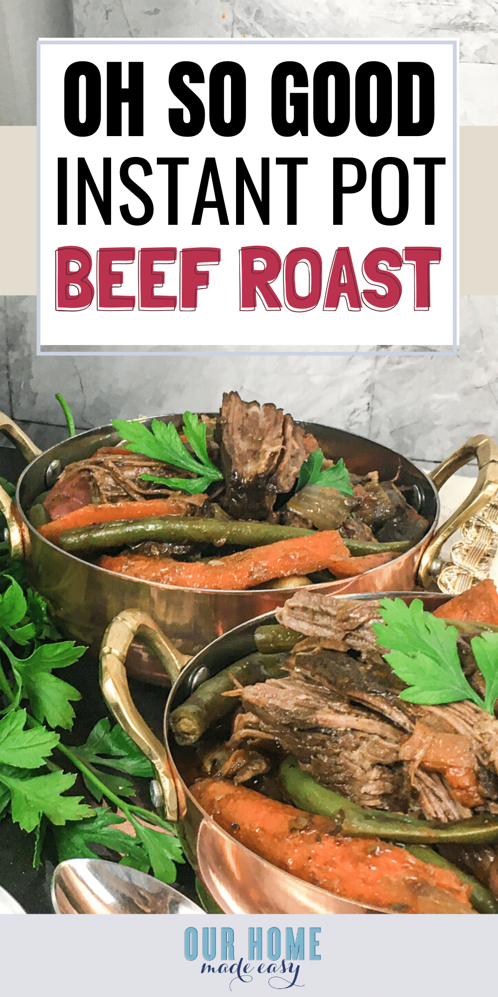 This instant pot beef roast will make a family favorite dinner in only an hour! It's perfect for busy nights when you crave comfort food.