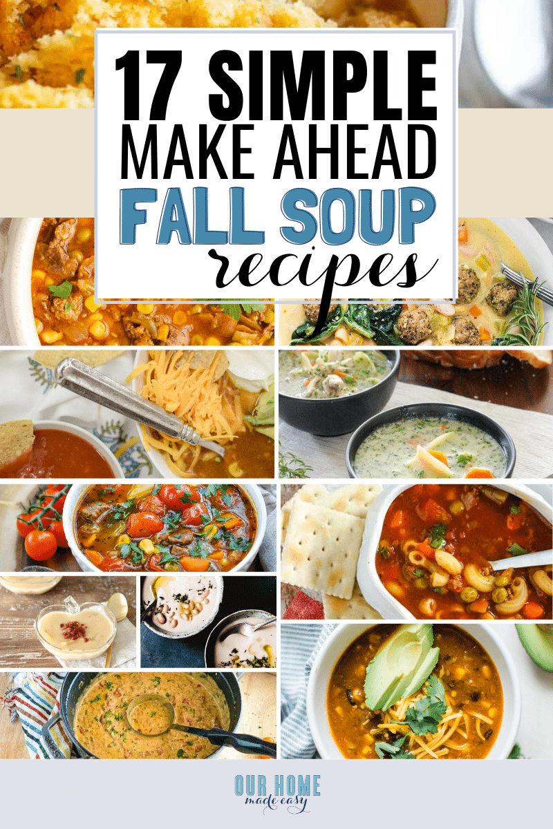 Find super simple Fall soup recipes for your busiest weeknights! These recipes are perfect for make ahead soups and freezable soups.