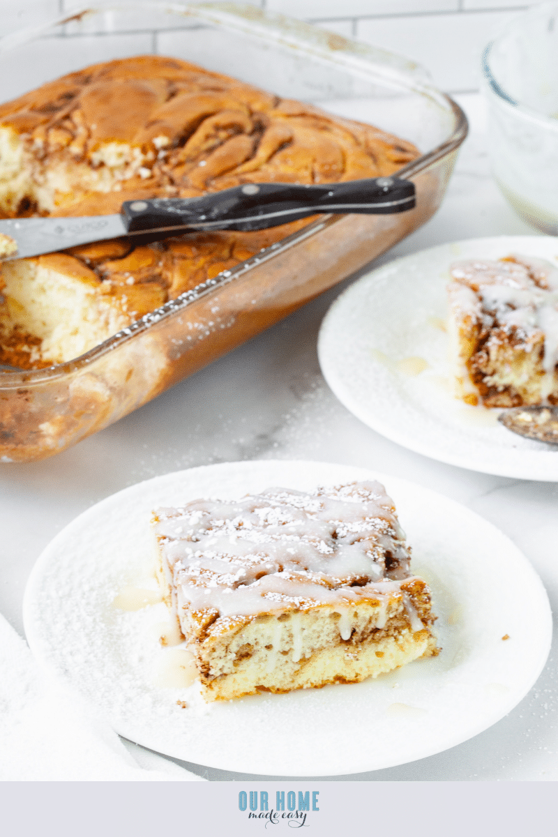Iced Cinnamon Roll Cake and slice